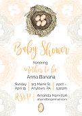 bird nest vector baby shower invitation
