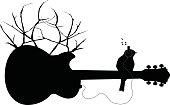 Bird on a Nature Guitar with Headphones