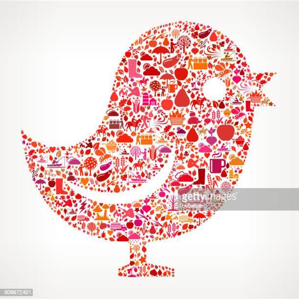 Bird on Autumn royalty free vector art Pattern