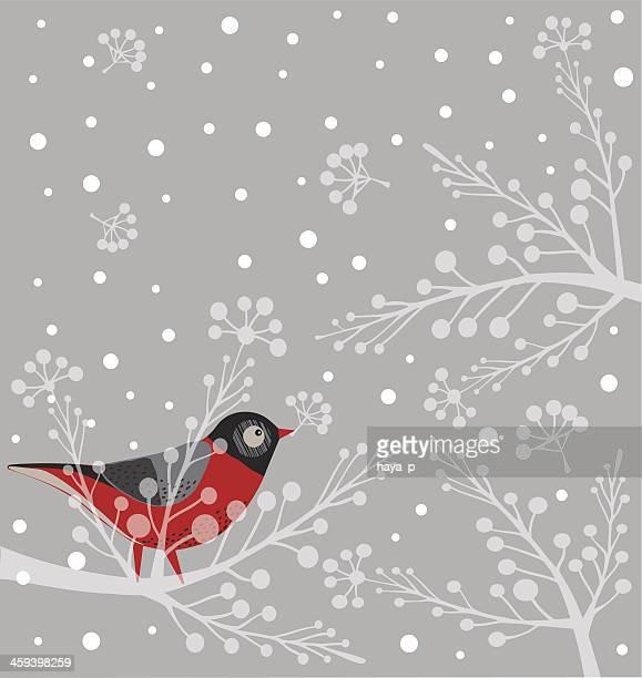 vogel auf einem ast - ruhige szene stock-grafiken, -clipart, -cartoons und -symbole