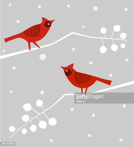 bird on branch, winter mood,  snowflakes , merry christmas symbol, - cardinal bird stock illustrations, clip art, cartoons, & icons