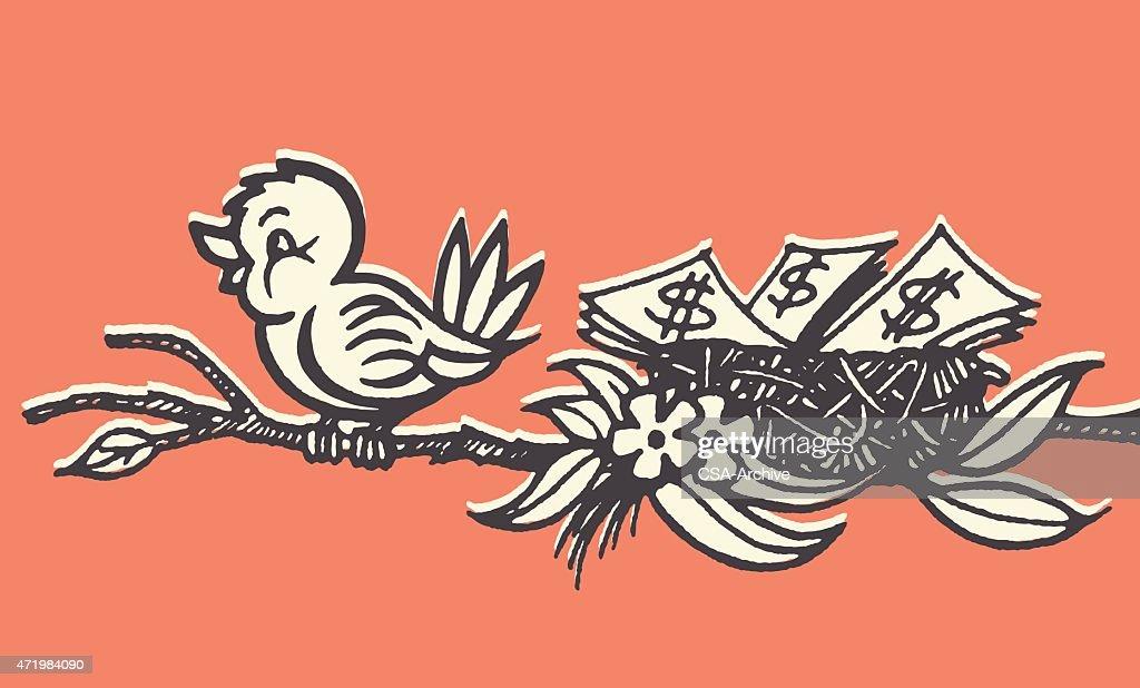 Bird on Branch with Nest Full of Money