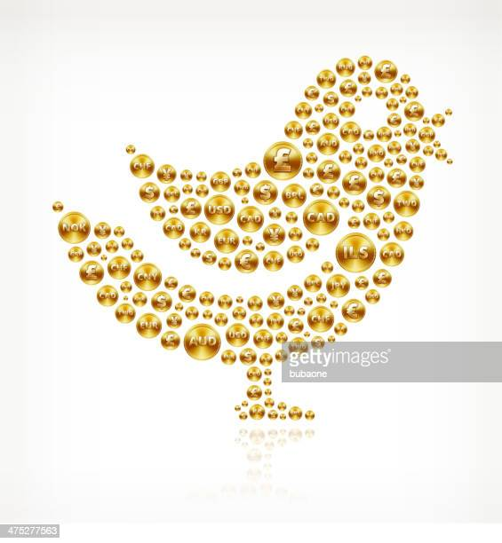bird on gold coin buttons - fiscal year stock illustrations