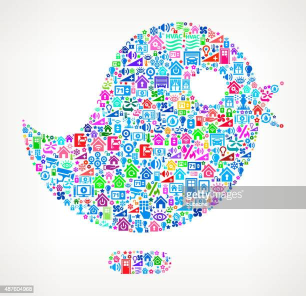 Bird on Home Automation and Security Vector Background
