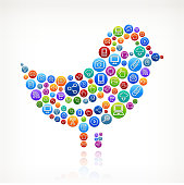 Bird on Social Networking & Internet Color Buttons