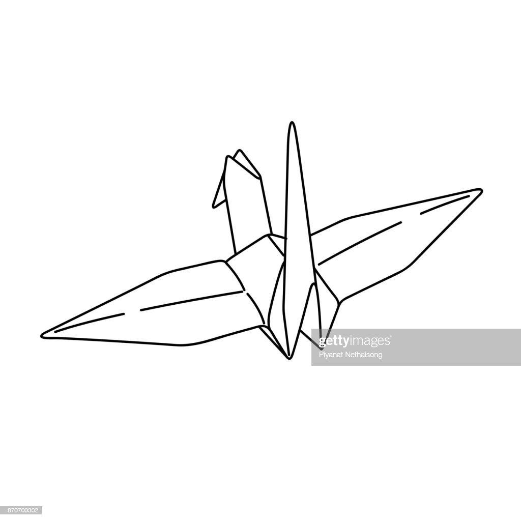 Vogelorigamipapier Einfache Linie Illustration Vektor Tattoodesign ...