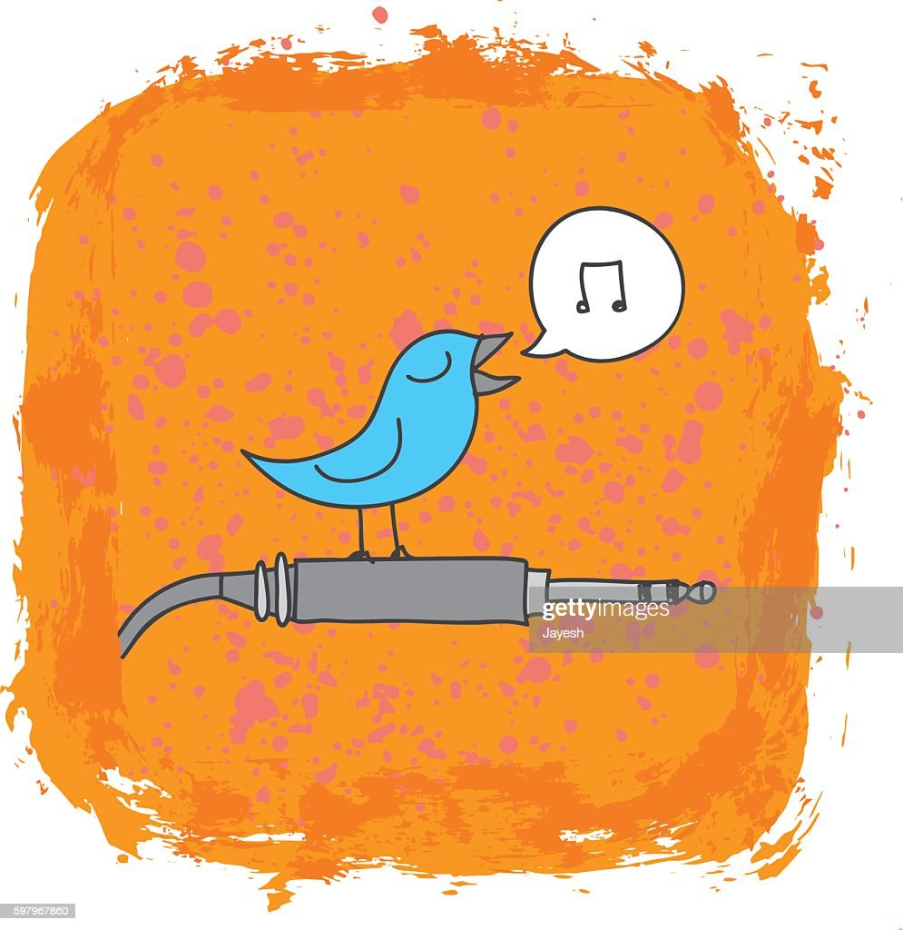 Bird Perched on Audio Cord