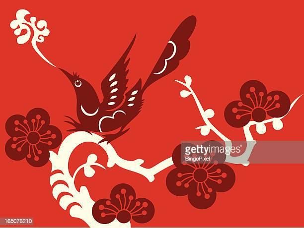 bird & plum blossom delight - magpie stock illustrations