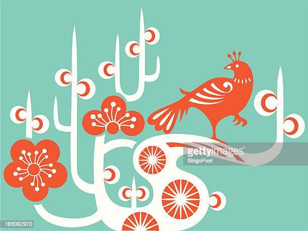 bird & plum blossom - magpie stock illustrations