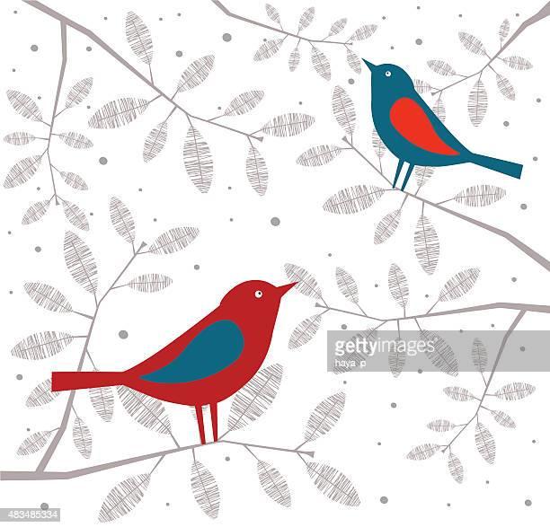 bird red end blue on branch - glühend stock illustrations