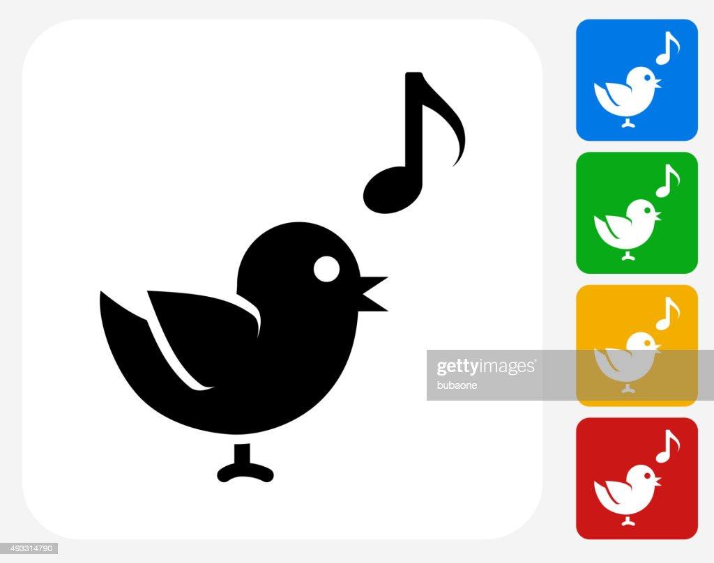 Bird Singing Icon Flat Graphic Design