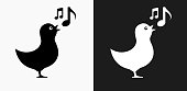 Bird Singing Icon on Black and White Vector Backgrounds