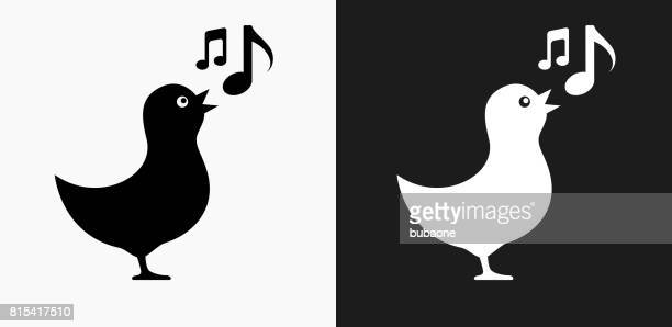 bird singing icon on black and white vector backgrounds - music note stock illustrations, clip art, cartoons, & icons