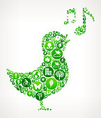 Bird Singing Nature and Environmental Conservation Icon Pattern