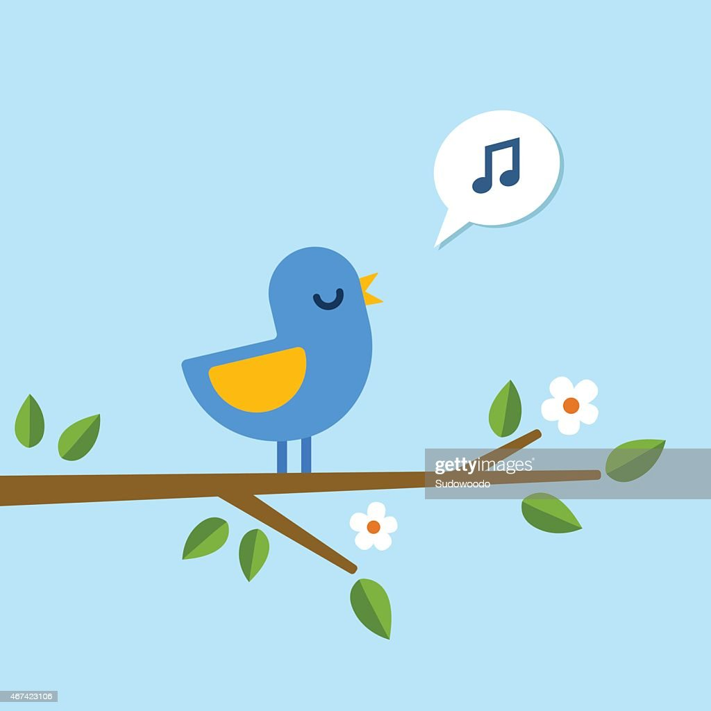 Bird singing on a branch