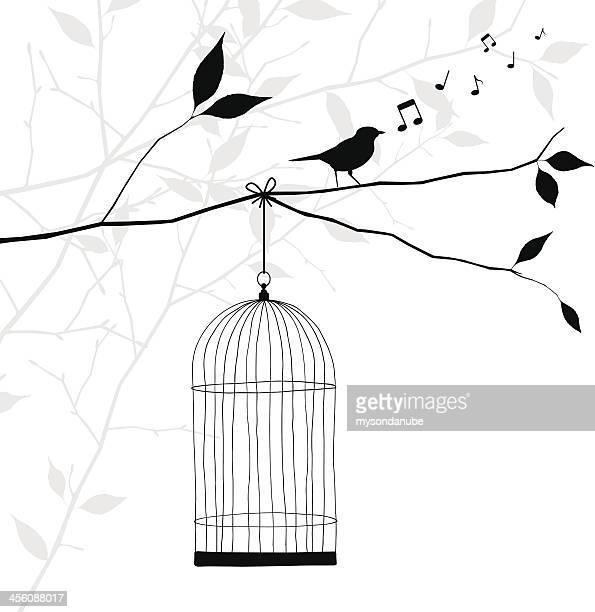 bird singing on tree branch - freedom concept - birdcage stock illustrations, clip art, cartoons, & icons