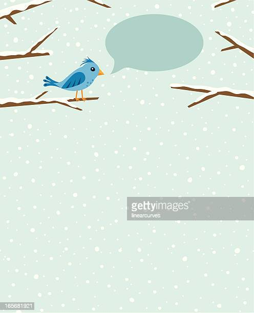 bird sitting on branch with speech bubble - plant attribute stock illustrations, clip art, cartoons, & icons