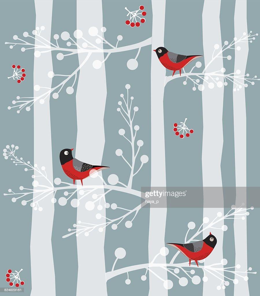 Bird  Sitting on the tree, Forest, Winter : stock illustration