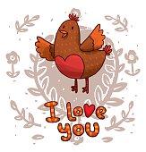 Bird speaking I love you