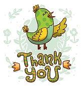 Bird speaking Thank you
