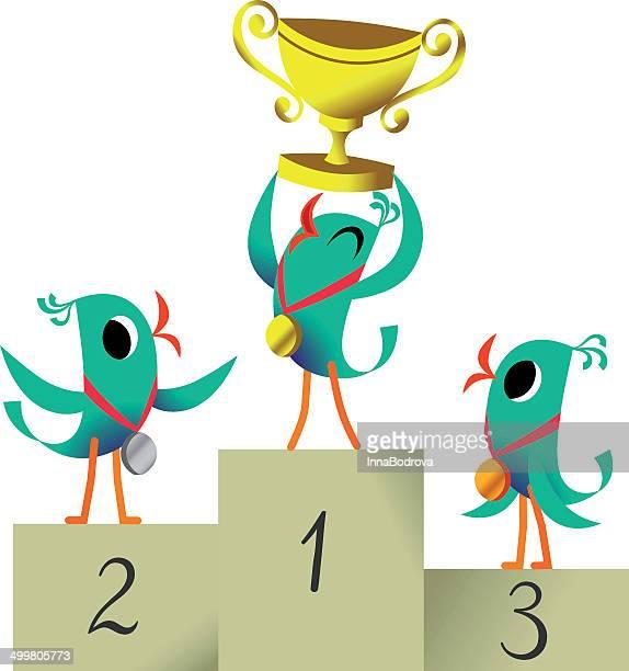 Bird the Winner. Bird with Cup.