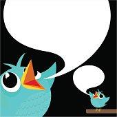 Bird, tweet, bluebird, feed, social media, text, follow, cartoon,