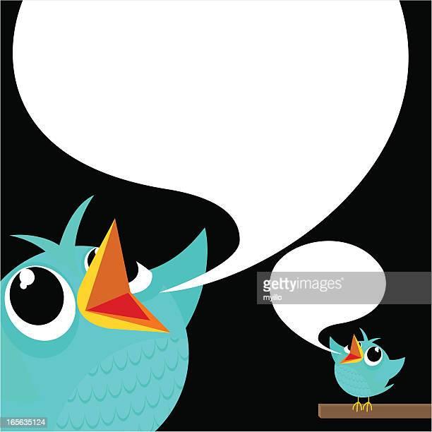 ilustrações de stock, clip art, desenhos animados e ícones de bird, tweet, azul, alimentos para animais, de meios de comunicação social, texto, siga, mulher, - canto de passarinho