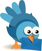 bird with a blue envelope