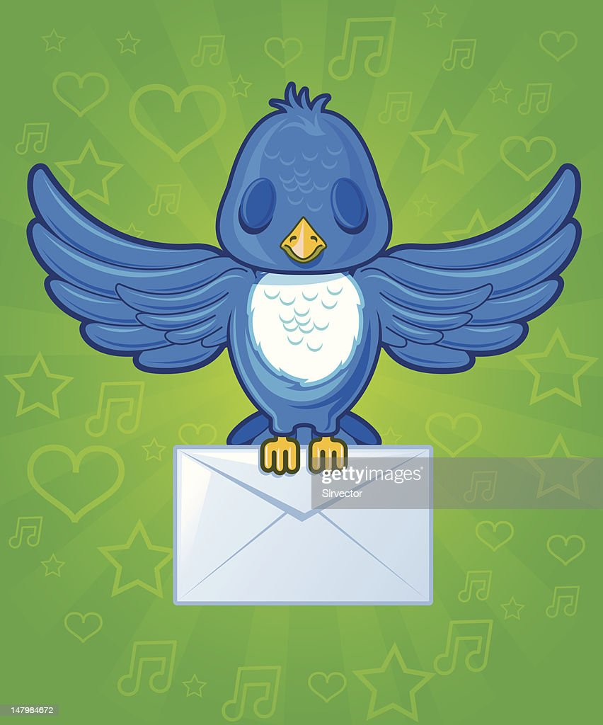 Bird with envelope mail