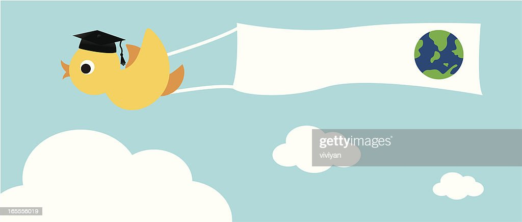 bird with graduate hat and banner vector art getty images