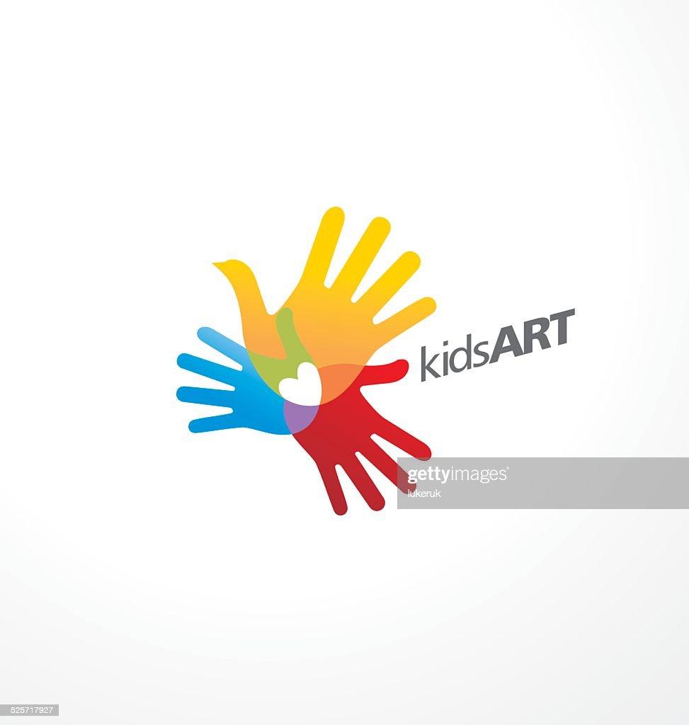 Bird with heart made from kids hand prints logo idea