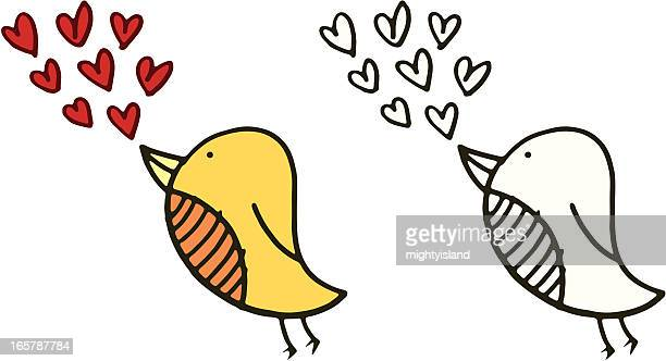 bird with love hearts - love at first sight stock illustrations