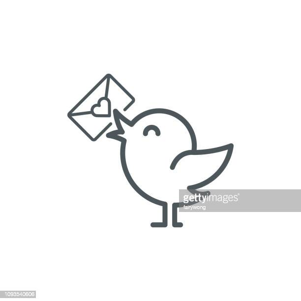 bird with love letter icon