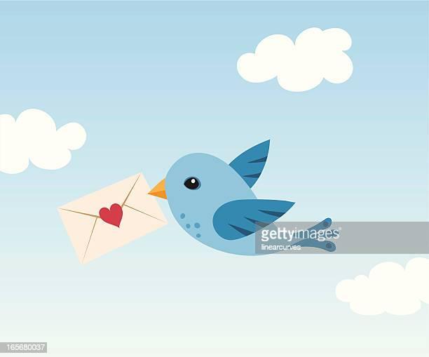 ilustraciones, imágenes clip art, dibujos animados e iconos de stock de pájaro con carta de amor - carta de amor
