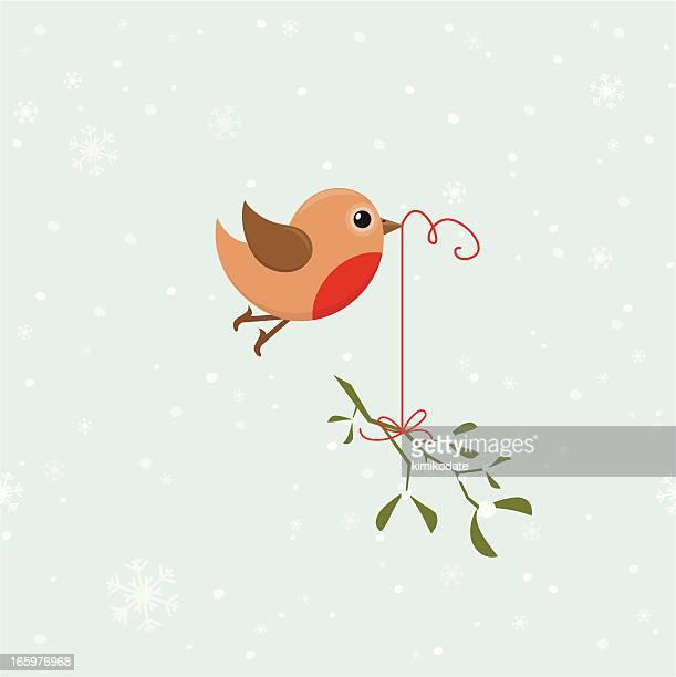 bird with mistletoe - mistletoe stock illustrations, clip art, cartoons, & icons
