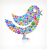 Bird with Social Networking & Internet Color Buttons