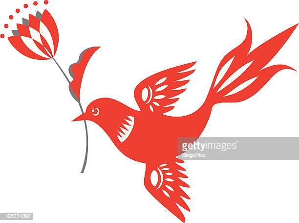 bird with tulip delight - folk music stock illustrations