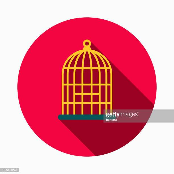 birdcage flat design pet care icon - cage stock illustrations, clip art, cartoons, & icons