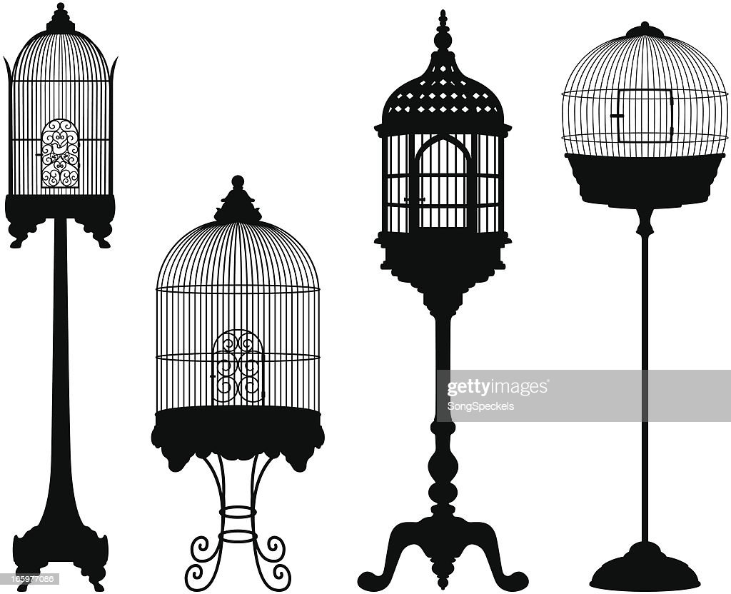 Birdcage Silhouettes : Stock Illustration