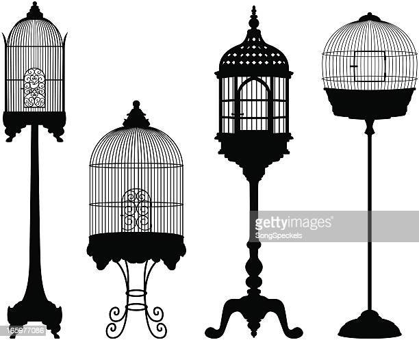 birdcage silhouettes - cage stock illustrations, clip art, cartoons, & icons