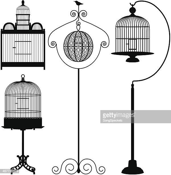 birdcages - birdcage stock illustrations, clip art, cartoons, & icons