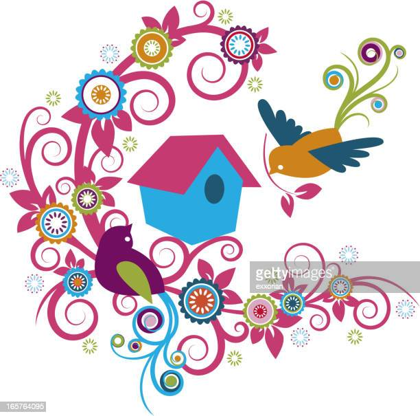 Birdhouse and Couple Bird in Whimsical Floral