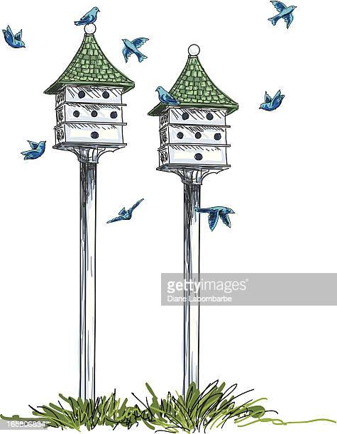 Birdhouses And Birds Illustration