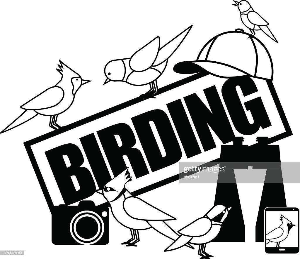 Birding icon with binoculars camera and smartphone EPS 10