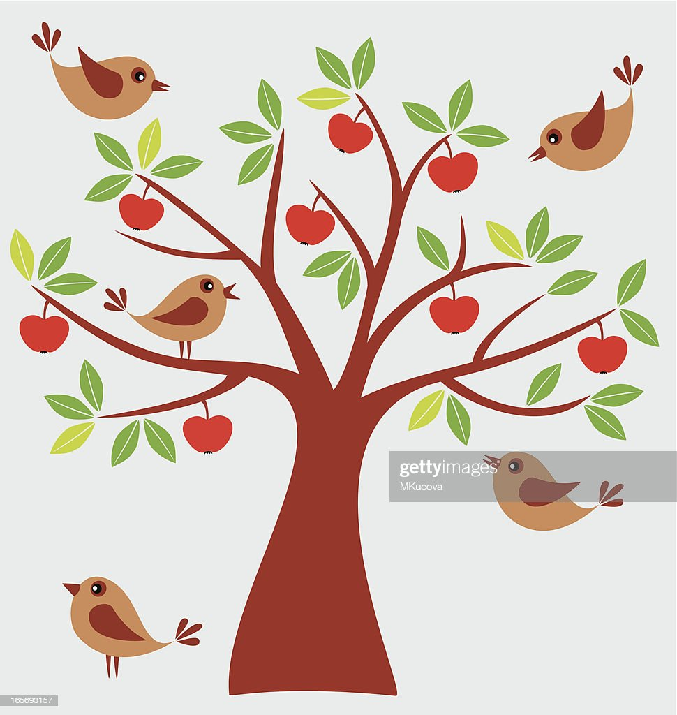 Birds and apple tree