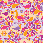 Birds and Flowers Pattern in Warm Colors