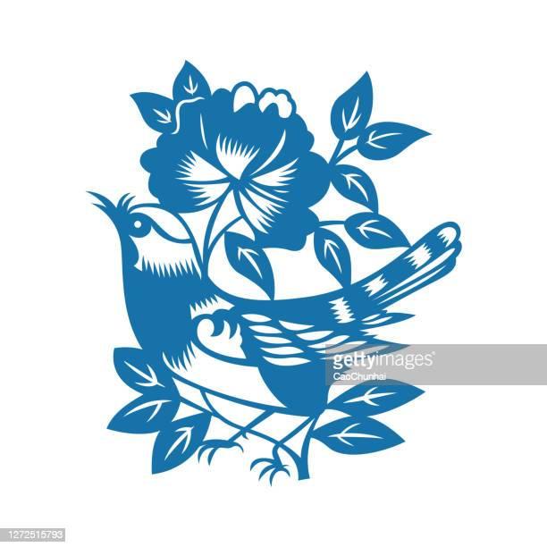 illustrazioni stock, clip art, cartoni animati e icone di tendenza di uccelli e fiori (modelli cinesi tagliati in carta) - tordo bottaccio
