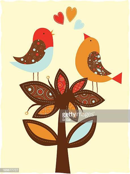 ilustrações de stock, clip art, desenhos animados e ícones de pássaros e flores (série - canto de passarinho