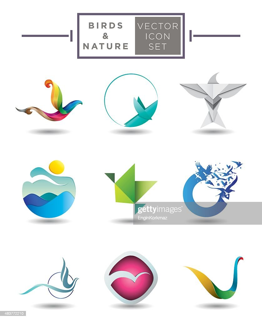 Birds and nature emblem collection