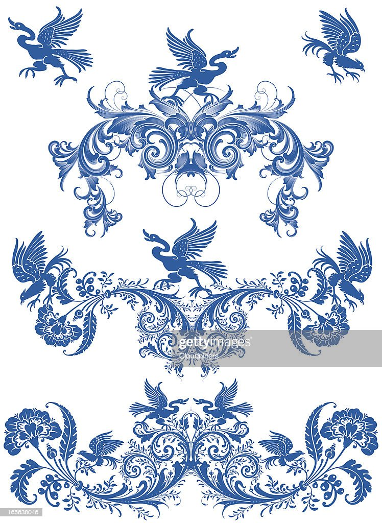 Birds and Scroll Dividers Engraving Designs